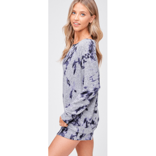 Super soft grey loungwear set with blue tie dye