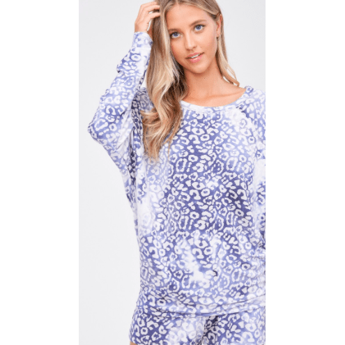 Tie dye leopard lounge wear set