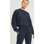 All over ribbed cropped loungewear set in black