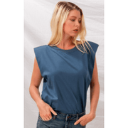 PRE-ORDER Padded shoulder sleeveless muscle tee - Multiple colors