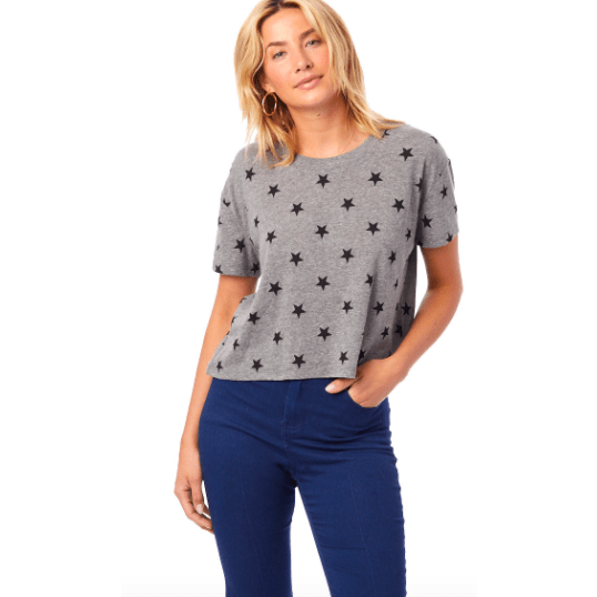 Star super soft printed grey cropped tee