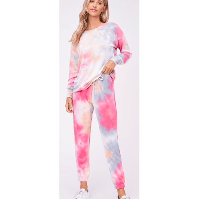 Cherry/blue tie dye lounge wear set