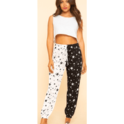 Black and off white star mix jogger