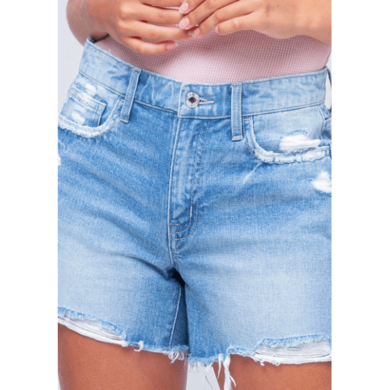 MID RISE DISTRESSED RAW HEM SHORTS