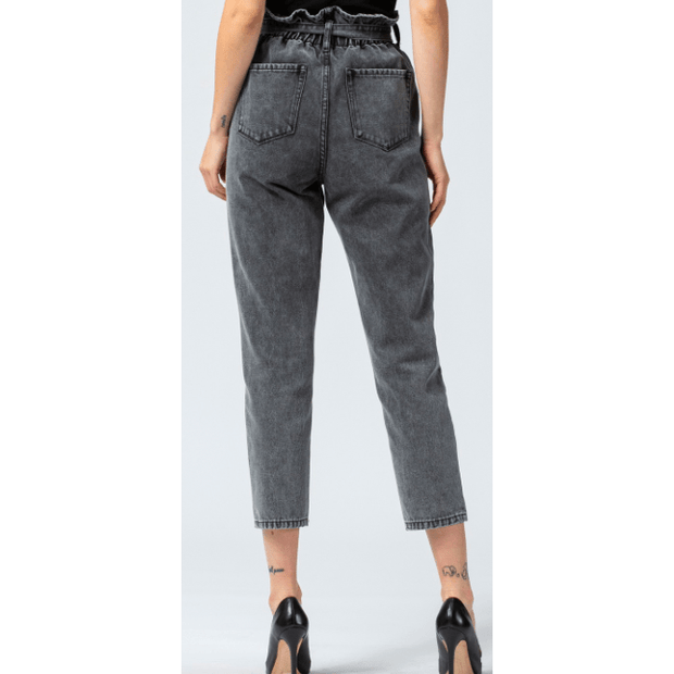 SELF TIE FRONT YOKE DETAIL PAPERBAG MOM JEAN
