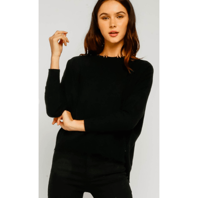 Black Distressed Dolman Sweater