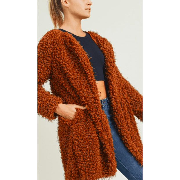 Red/Brown Faux fur jacket