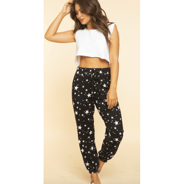 Black stars all over printed soft joggers