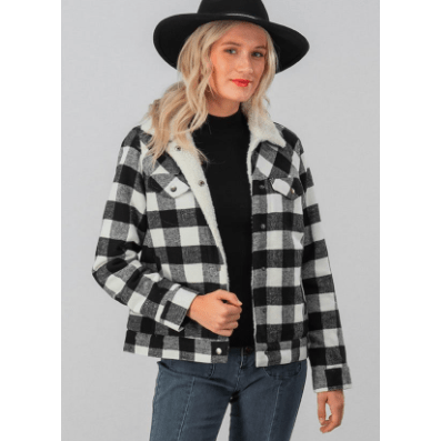 Faux shearling plaid button jacket