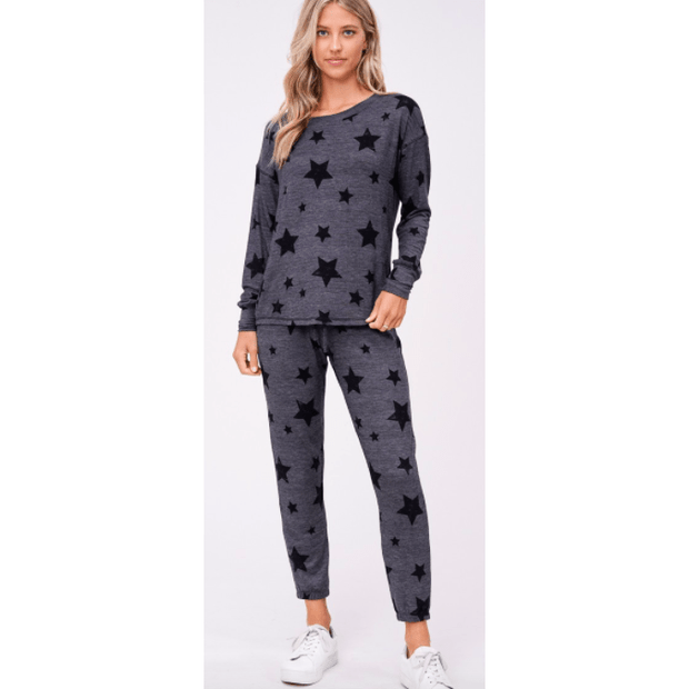 Black stars loungewear long sleeve set