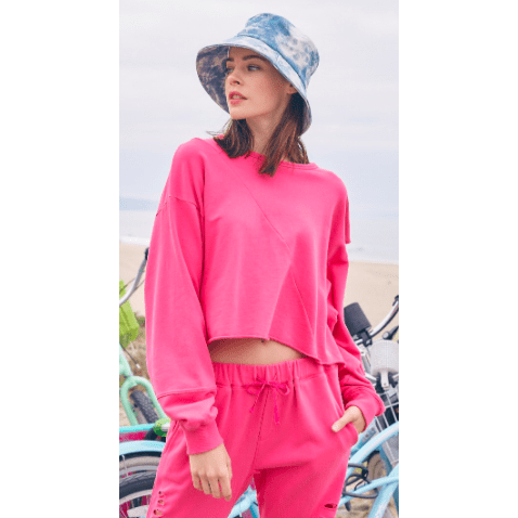 Oversized crop top with rip in arm - Multiple colors available