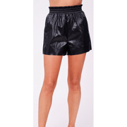 Paperbag waist faux leather shorts