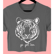 Snake lips and Tiger graphic cropped soft tee - Grey