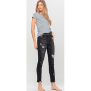 High rise button up distressed raw hem ankle skinny jeans