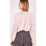 Smocked sleeve top with ruffles