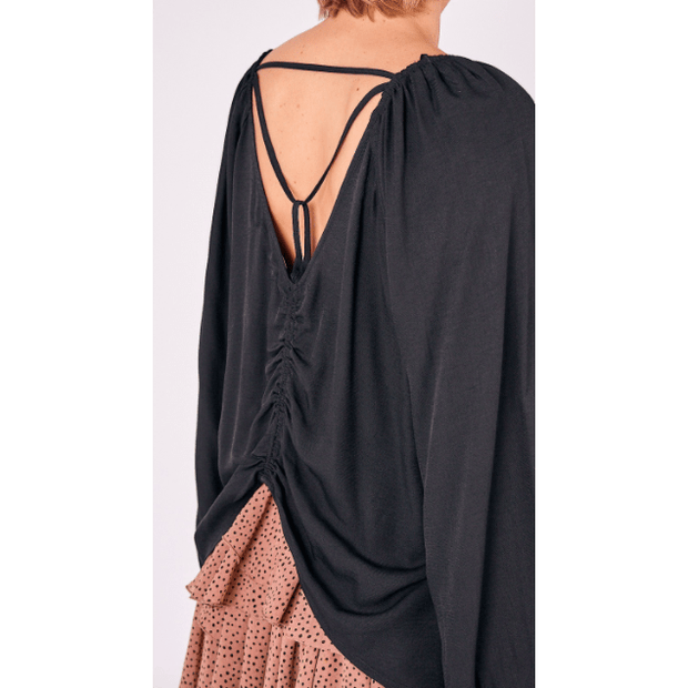 Open back blouse with back detail