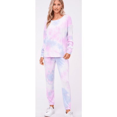 Pink and blue tie dye loungewear soft set