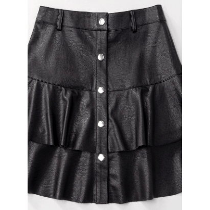 Vegan faux leather button down ruffle layer mini skirt