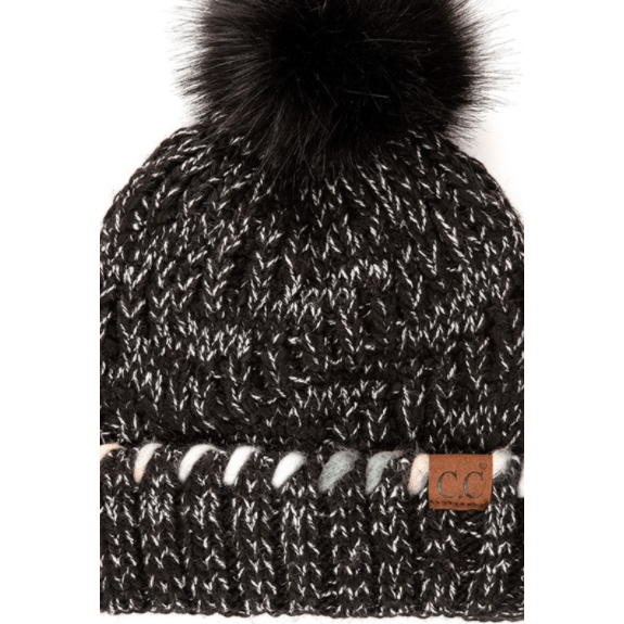 C.C Pom Beanie with OMBRE Dyed Accent Yarn In Cuff