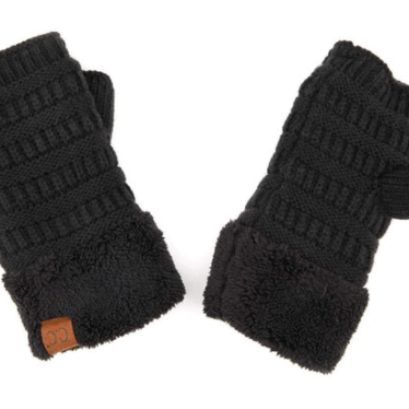 C.C Knitted Fingerless with Sherpa Lining Gloves