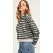 Black soft striped cropped pullover