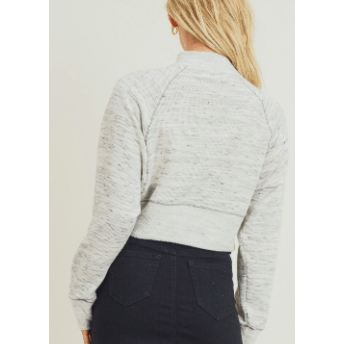 Ivory mock neck cropped pullover
