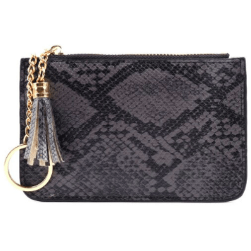 Snakeskin credit card wallet with key chain