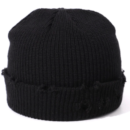 Black distressed winter beanie hat