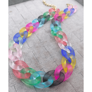 Chunky Acrylic Colored Chain link necklace