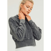 Mineral washed mock fleece cropped pullover