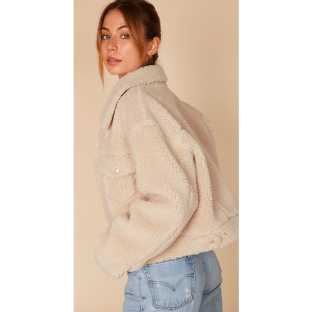 Teddy Bomber Pocket Detail Crop Jacket