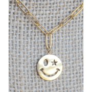 Paperclip smily face charm necklace