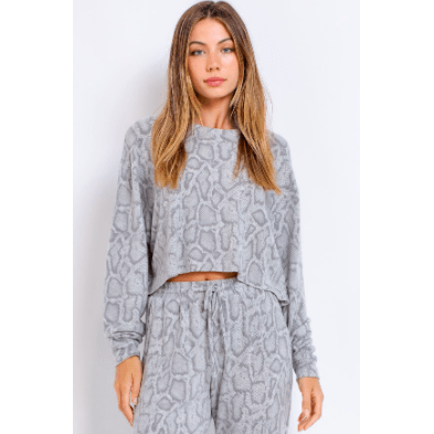Grey/Charcoal snakeskin print cropped long sleeve top