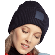 C.C Solid Ribbed Knit Beanie with C.C Rubber Patch