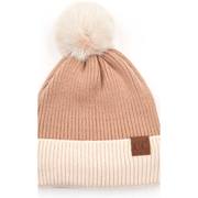 C.C solid color beanie with beige cuff and pom - multiple colors available