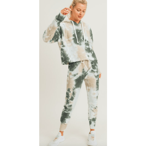 Tie-Dye Jacquard Cropped Hoodie Pullover and joggers - set