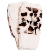 Women's Winter Leopard Fingerless Faux Fur Gloves - multiple colors available