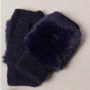 Women's Winter Fingerless Gloves with Faux Fur On Top