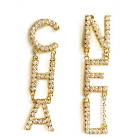 """CHA"" ""NEL"" Gold and Crystal Earrings"