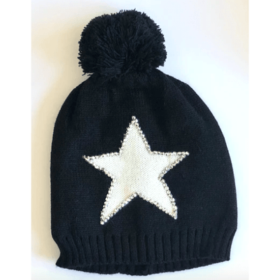 Knit Pom Pom Hat With Sequin Bordered White Star