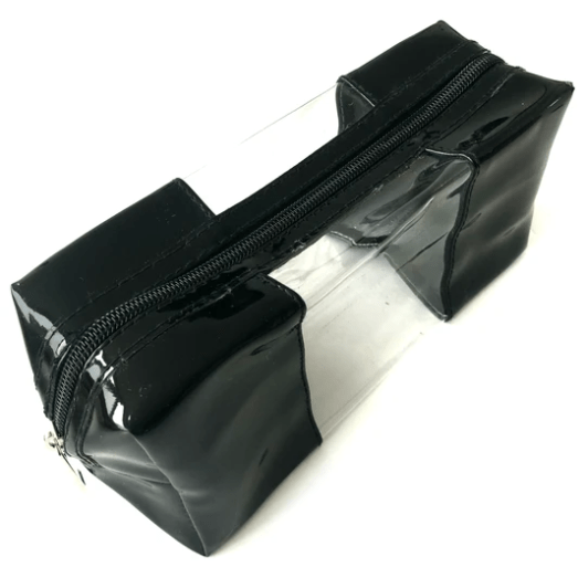 Black Patent Leather and Clear Make Up Bag