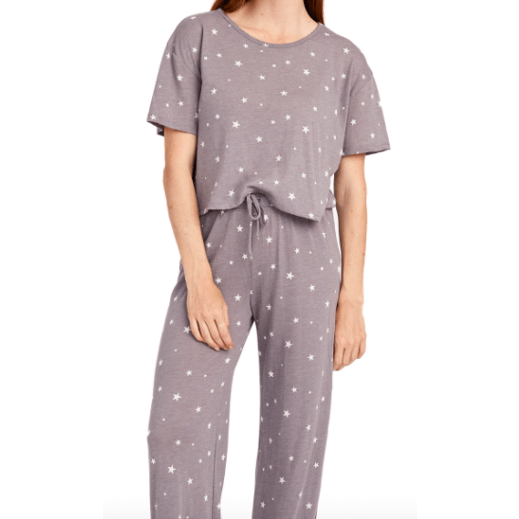 Eco Grey/White Dreamy Stars wide leg pants and matching tee set