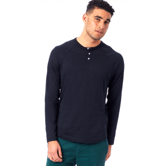 Men's organic long sleeve soft henley - Black and white available