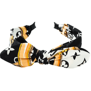 Black, Gold & White Knot Double Bow Pattern Cotton Headband