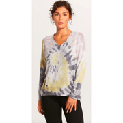 Tie Dye Distressed V Neck Sweater