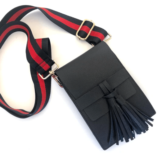Tassel Crossbody with Green and Red Canvas Adjustable Strap
