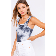 Tie dye bodysuit with ruffled shoulders