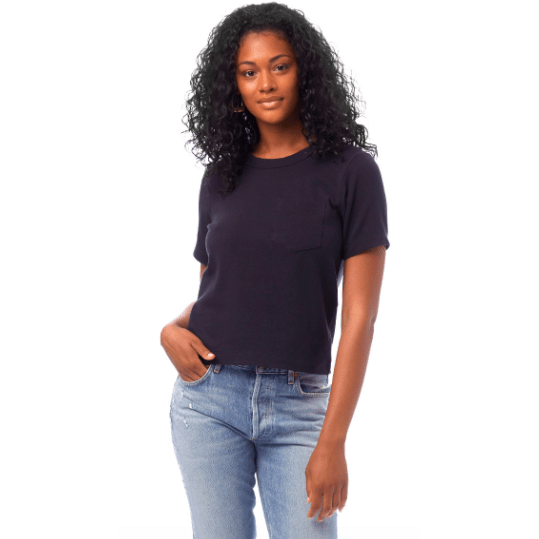 Heavyweight Recycled Cotton Cropped Pocket T-Shirt (black and Ecru Avail)