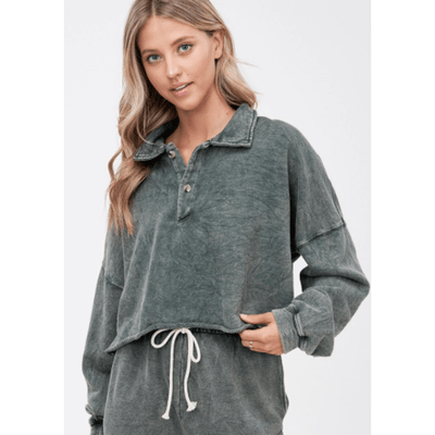 Charcoal collared long sleeve french terry top