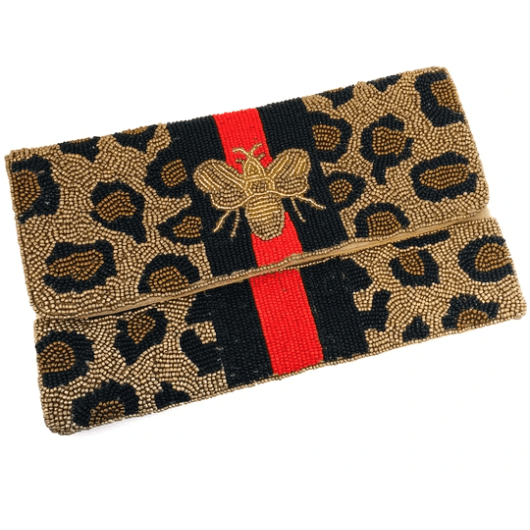 Leopard bee with red and green stripe hand beaded clutch/handbag